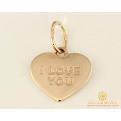 Золотой подвес 585 проба. Кулон с красного золота сердце 'I LOVE YOU' (Я тебя люблю) пб221и