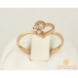 Золотое кольцо 585 проба. Женское кольцо Сердце с красного золота. 17 размер кв526и