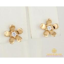 Золотые Серьги 585 проба. Женские серьги с красного золота, Пуссеты(гвоздики) Swarovski сп114си