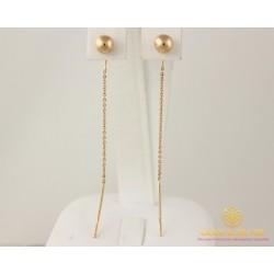 Золотые серьги 585 проба. Женские Серьги протяжки шары с красного золота. 580059