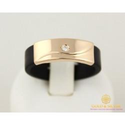 Золотое Кольцо 585 проба. Каучуковое кольцо с красного золота с вставкой фианита. 900621
