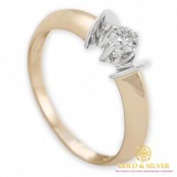 Золотое Кольцо 585 проба. Кольцо с красного и белого золота, с вставкой бриллиант. 0,18 ct (карат) 10160