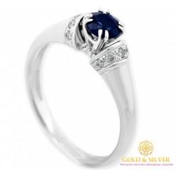 Золотое кольцо 585 проба. Женское кольцо с белого золота с бриллиантами и сапфиром. 11018