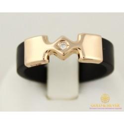 Золотое кольцо 585 проба. Каучуковое кольцо с красного золота с фианитом 900622