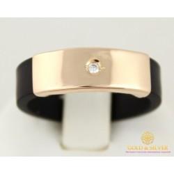 Золотое кольцо 585 проба. Каучуковое кольцо золотое с вставкой фианита. 900620