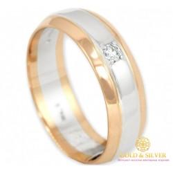 Золотое кольцо 585 проба. Классическое обручальное кольцо с красного и белого золота с бриллиантом. 12730
