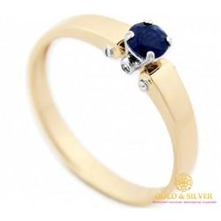 Золотое кольцо 585 проба. Кольцо женское с красного и белого золота с вставкой бриллиантом и сапфиром 15291
