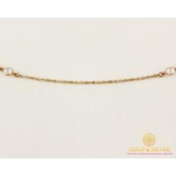 Золотая цепь 585 проба. Женская золотая Цепочка с шариками фианита 50 сантиметров 860152