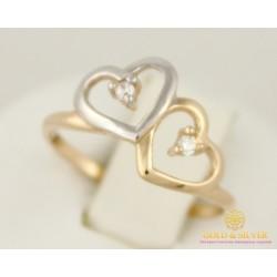 Золотое кольцо 585 проба. Женское Колечко Сердечки 14 размер 11350