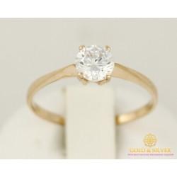 Золотые кольцо 585 проба. Женское Кольцо один камушек с красного золота. 11071