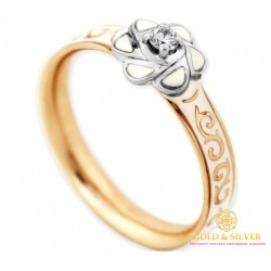 Золотое Кольцо 585 проба. Женское кольцо 585 проба Красное и белое золото Бриллиант, белая эмаль 16160