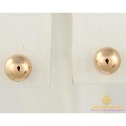 Золотые Серьги 585 проба. Женские серьги с красного золота, пуссеты шарики 580055
