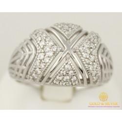 Серебряное кольцо 925 проба. Женское Кольцо, россыпь камней, с вставкой фианитов. 6,25 грамма. 330773с