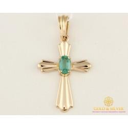Золотой Крест 585 проба. Крест с красного золота, с вставкой Изумруд. 33284
