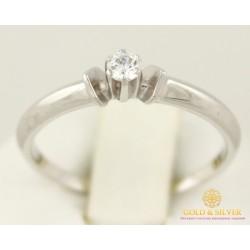 Золотое кольцо 585 проба. Кольцо женское белое золото с камнями Swarovski. кв645Бси