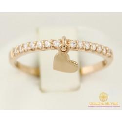 Золотое кольцо 585 проба. Женское Кольцо красное золото с сердечком. 1,3 грамма кв933.3и