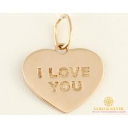Золотой подвес 585 проба. Кулон с красного золота, сердце 'I LOVE YOU' (Я тебя люблю) пб222и