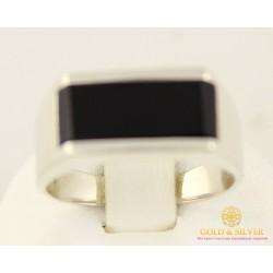 Серебряное кольцо 875 проба. Кольцо мужское обсидиан им. 313