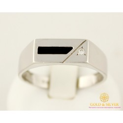 Серебряное кольцо 925 проба. Мужское кольцо с черной эмалью. 1569э