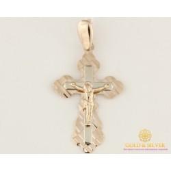 Золотой крест 585 проба. Крестик красное и белое золото. алмазная огранка. 210142