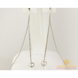Серебряные серьги 925 проба. Женские серебряные Серьги протяжки шары. 580056с