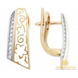 Золотые серьги 585 проба. Женские Серьги с красного и белого золота, с вставками бриллианта и белой эмалью. 25920