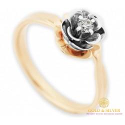 Золотое кольцо Бриллиант 585 проба. Кольцо женское Цветок красное и белое золото. 16460