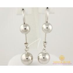 Серебряные серьги 925 проба. Серьги серебряные женские шары 470106с