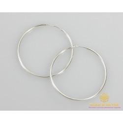 Серебряные серьги 925 проба. Серьги серебряные женские кольца (конго). Диаметр 48 мм. 2501