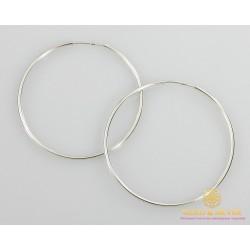 Серебряные серьги 925 проба. Серьги серебряное женские кольца (конго). Диаметр 60 мм. 2502
