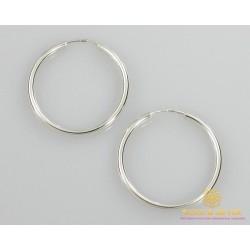 Серебряные серьги 925 проба. Серьги серебряные женские кольца (конго). Диаметр 35 мм. 2503