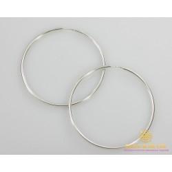 Серебряные серьги 925 проба. Серьги серебряные женские кольца (конго). Диаметр 70 мм. 2506