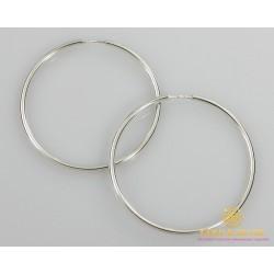 Серебряные серьги 925 проба. Серьги серебряные женские кольца (конго). Диаметр 83 мм. 2507
