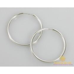 Серебряные серьги 925 проба. Серьги серебряные женские кольца (конго). Диаметр 48 мм. 2508