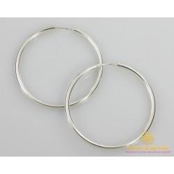 Серебряные серьги 925 проба. Серьги серебряные женские кольца (конго). Диаметр 60 мм. 2509