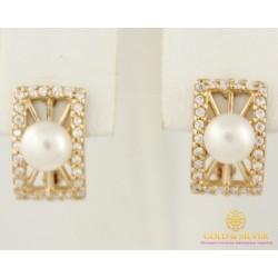 Золотые серьги 585 проба. Серьги женские с красного золота, с вставкой жемчугом. 20526