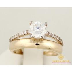 Золотое кольцо 585 проба. Женское кольцо с красного золота с фианитами. 11546