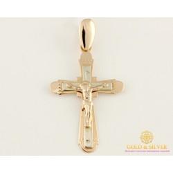 Золотой Крест 585 проба. Крестик с красного и белого золота. 230036