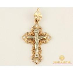 Золотой Крест 585 проба. Крест с Белого и Красного золота с вставкой Бриллиант 32280