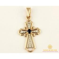 Золотой Крест 585 проба. Крест с красного и белого золота, с вставкой сапфир и бриллиант. 33140