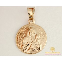Золотая Нательная Икона 585 проба. Подвес с красного золота, Божья Матерь 100591