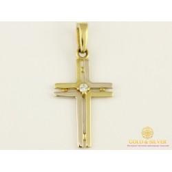 Золотой Крест 750 пробы. Крестик с бриллиантом 104778