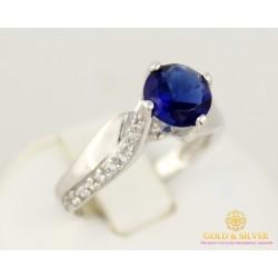 Золотое Кольцо 585 проба. Женское кольцо с белого золота, с вставкой синего камня.  kv102102i