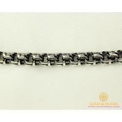 Серебряный Браслет 925 проба. Браслет серебряный черненый, плетение  Бисмарк Круглый 4051-1