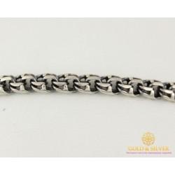 Серебряный Браслет 925 проба. Браслет серебряный черненый, плетение Бисмарк, Унисекс 4051-2