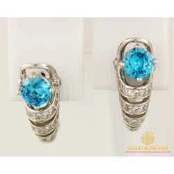 Золотые Серьги 585 проба. Женские серьги с белого золота с голубым камнем cv54401i