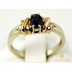 Золотое Кольцо 585 проба. Кольцо женское с красного и белого золота с вставкой Сапфир и Бриллиант. 10010
