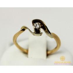 Золотое Кольцо 585 проба. Кольцо с красного и белого золота, с вставкой Бриллиант 10220