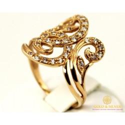 Золотое кольцо 585 проба. Женское кольцо с красного золота с вставкой Фианит 10225
