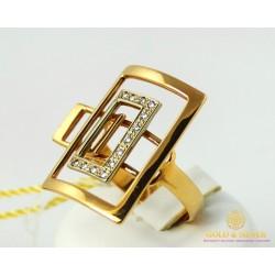 Золотое Кольцо 585 проба. Женское кольцо Чемоданчик с красного золота и вставкой Бриллиант 750382